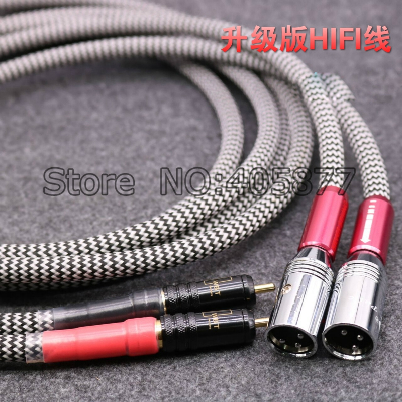 Hifi Silver Plated Audio Cable 2 RCA Male to 2 XLR HIFI Plug 3 Pin Male Audiophile new liton 6n sivel plated 1m stereo audio cable 3 5mm male to 2 rca male for subwoofer tv speaker