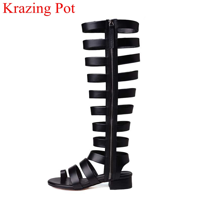 2018 hot sale superstar brand summer boots genuine leather square heel women boots mid-calf zip elegant fashion concise shoe L61 double buckle cross straps mid calf boots