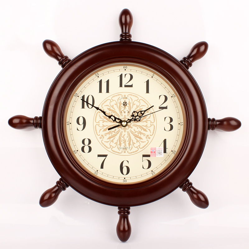 Wall Clock Fashion Hanging Vintage Silent Wall Clock Living Room Decorations Watch Wall Navigation Rudder Home Decor Figurines