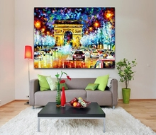 100% Handpainted Triumphal Arch Palette Oil Knife Canvas Painting Modernism Europe Architecture Art Home Office Wall Decorations