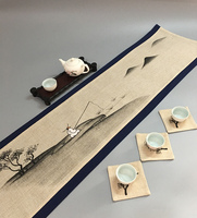Chinese Vintage Painting Cotton Linen Fabric Table Runner Coffee Table Mat Placemat Home Decor Table Cloth Rectangular Tea Pad