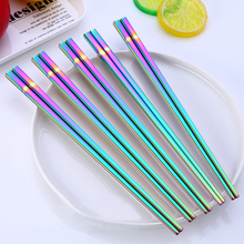 XYKIT Rainbow Chopsticks 304 Food Grade Stainless Steel Square Chinese Colorful Hashi Chop Sticks Anti Scald Reusable Sticks