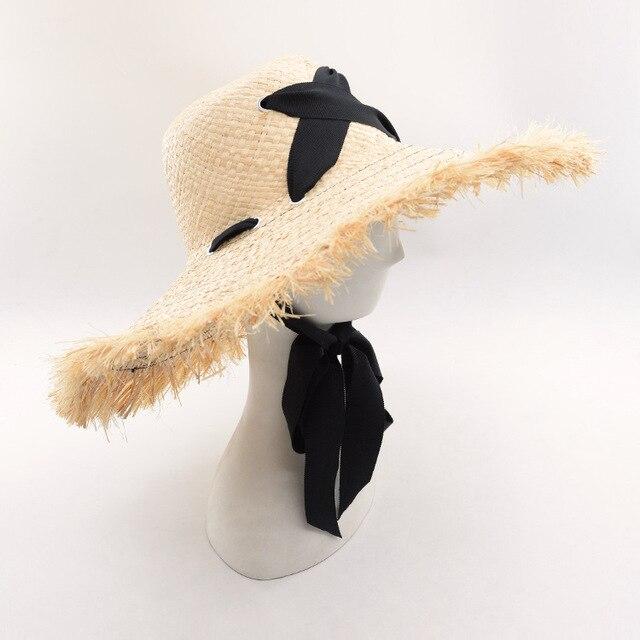 880fb14c Muchique Summer Beach Sun Hats for Women 2017 Raffia Straw Floppy Hats with  Cross Ribbon Tie
