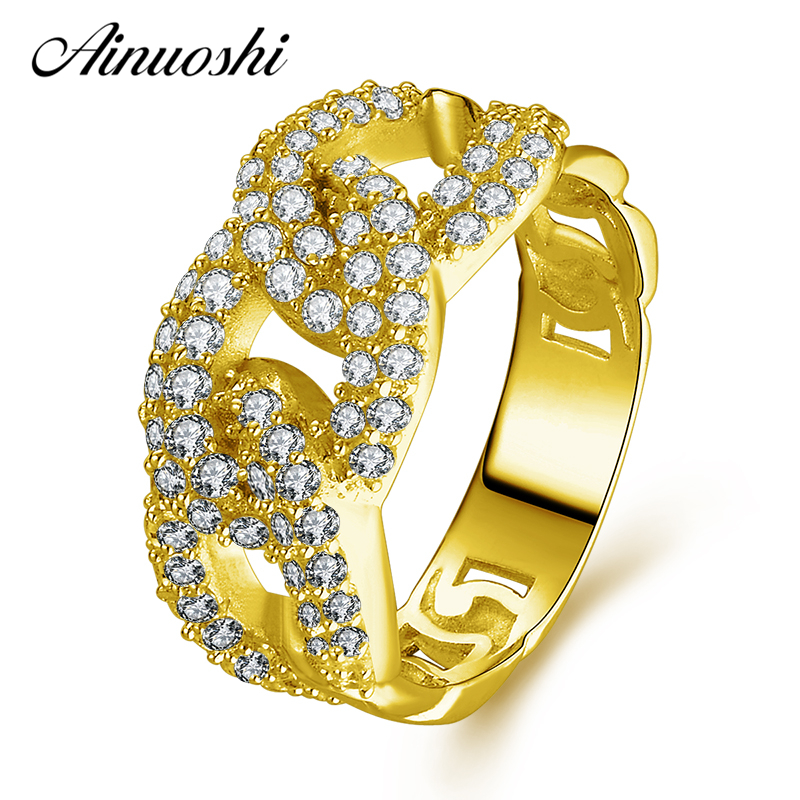 AINUOSHI 10K Solid Yellow Gold Women Rings Shinning Sona Simulated Diamond Ring Cross Design Female NSCD Fine Jewelry Customed
