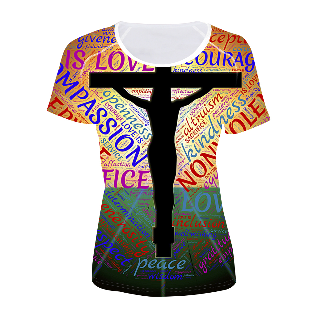 FORUDESIGNS Women T shirt Fashion Tops Tees Femal Cross T Shirt Jesus Printing Teens Girls Womens t shirts Christian Sister Love in T Shirts from Women 39 s Clothing