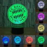 3D BAYERN Club Badge 7 Colors Changeable 3D LED Night Light Touch Sensor Or Remote Control