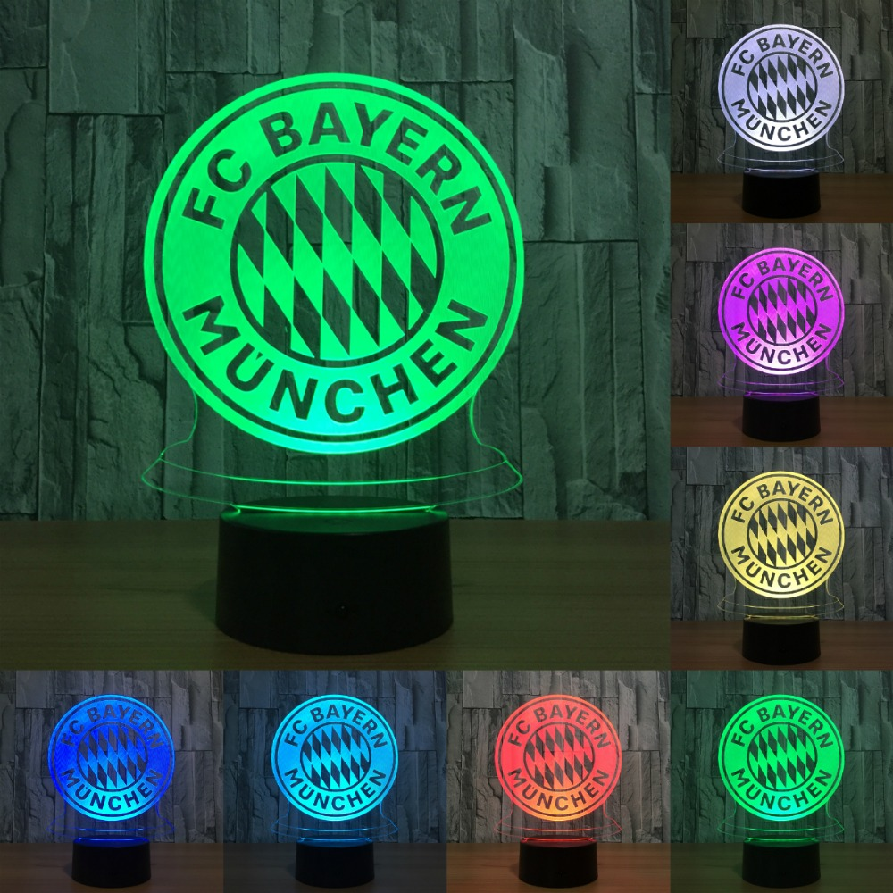 3D BAYERN Club badge 7 Colors Changeable 3D LED Night Light touch sensor or Remote control USB table lamp IY803199 led remote control colorful eggs rechargeable bar table lamp ktv night club light dimming color led night light free shipping