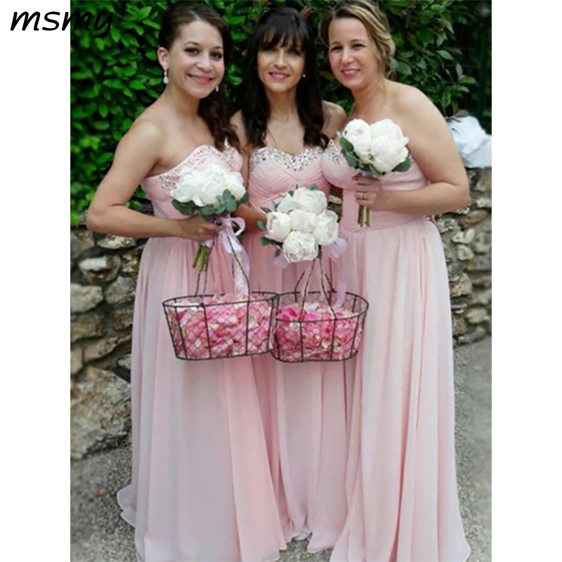 Elegant A-Line   Bridesmaid     Dresses   Sleeveless Pleat Sequined Chiffon Simple Cheap Long   Bridesmaid     Dresses   Custom Made