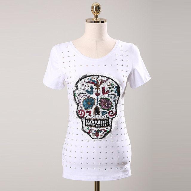 Tienda Online Cráneo fantasma Lentejuelas apliques camiseta 2017 de ...
