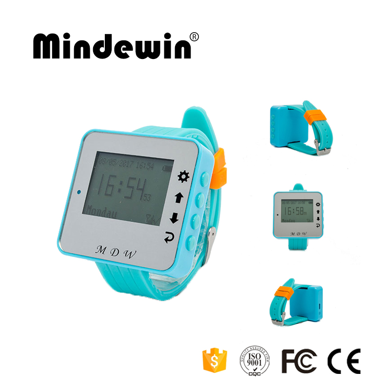 2017 Mindewin 433MHz Wireless Calling Paging System Watch Pager Receiver Host Guest Waiting Pager for Restaurant Bank Equipment wireless pager system 433 92mhz wireless restaurant table buzzer with monitor and watch receiver 3 display 42 call button