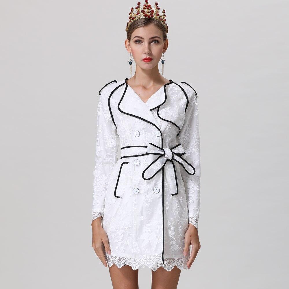 Rot RoosaRosee Neue Elegante Blume Stickerei Handgelenk Ärmel Zweireiher Weiß Kleid 2019 Designer Frauen Frühling Sommer Vestidos-in Kleider aus Damenbekleidung bei  Gruppe 1