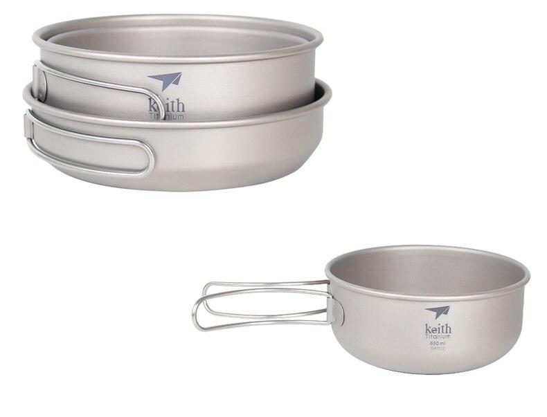 Sports & Entertainment Keith 3pcs Titanium Pan Bowel Pot Set Outdoor Camping Picnic Cooking Kitchen Folding Cookware Ti6053