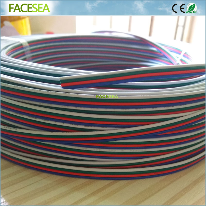 Free DHL 100m Electrical Wire Tinned Copper 4 Pin 22AWG Extension RGB Wire Connector for ws2801 3528 5050 RGB LED Strip light dhl free 100