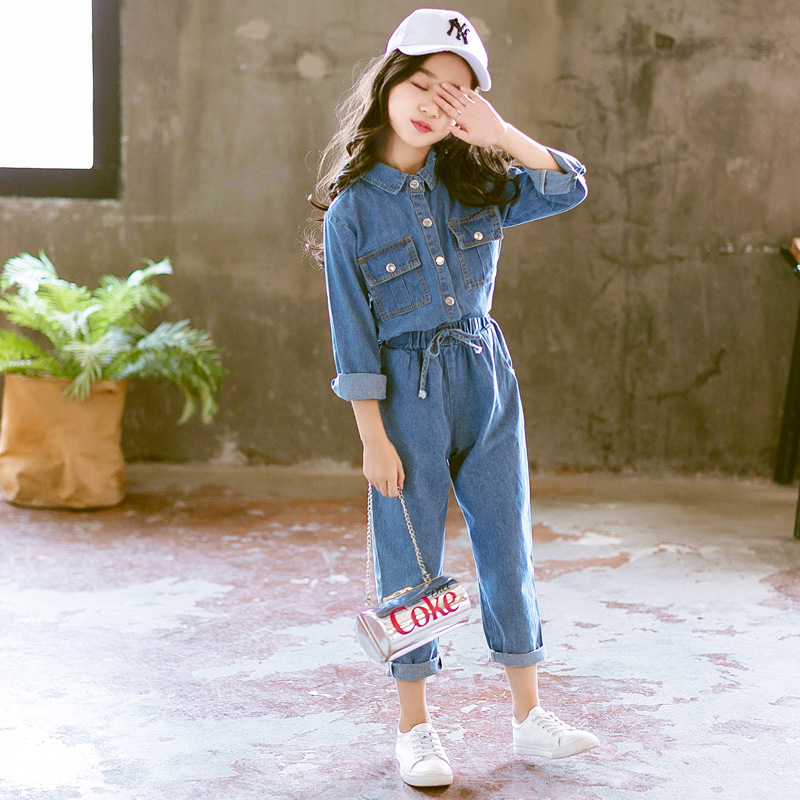 Kids's clothes women autumn 2018 Korean model of the brand new denim go well with child spring and autumn style kids's two-piece Clothes Units, Low-cost Clothes Units, Kids's clothes...