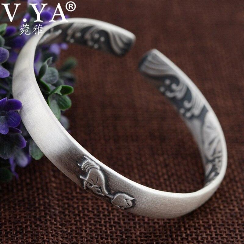 V YA Buddhism Hands Lotus Flower Bracelet Solid 999 Sterling Silver Bracelets Bangles for Women Female