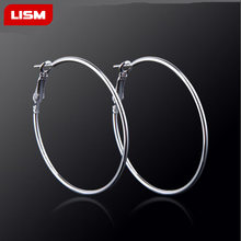 Hot Sales Exaggerated large Earrings Stainless Titanium Steel Round Buckle Hoop Earrings for Women Jewelry Accessories Gift(China)