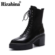 RIZABINA Women High Heels Boots Genuine Real Leather Platform Shoes Lace Up Half Pointed Toe Winter Footwear Size 34-43