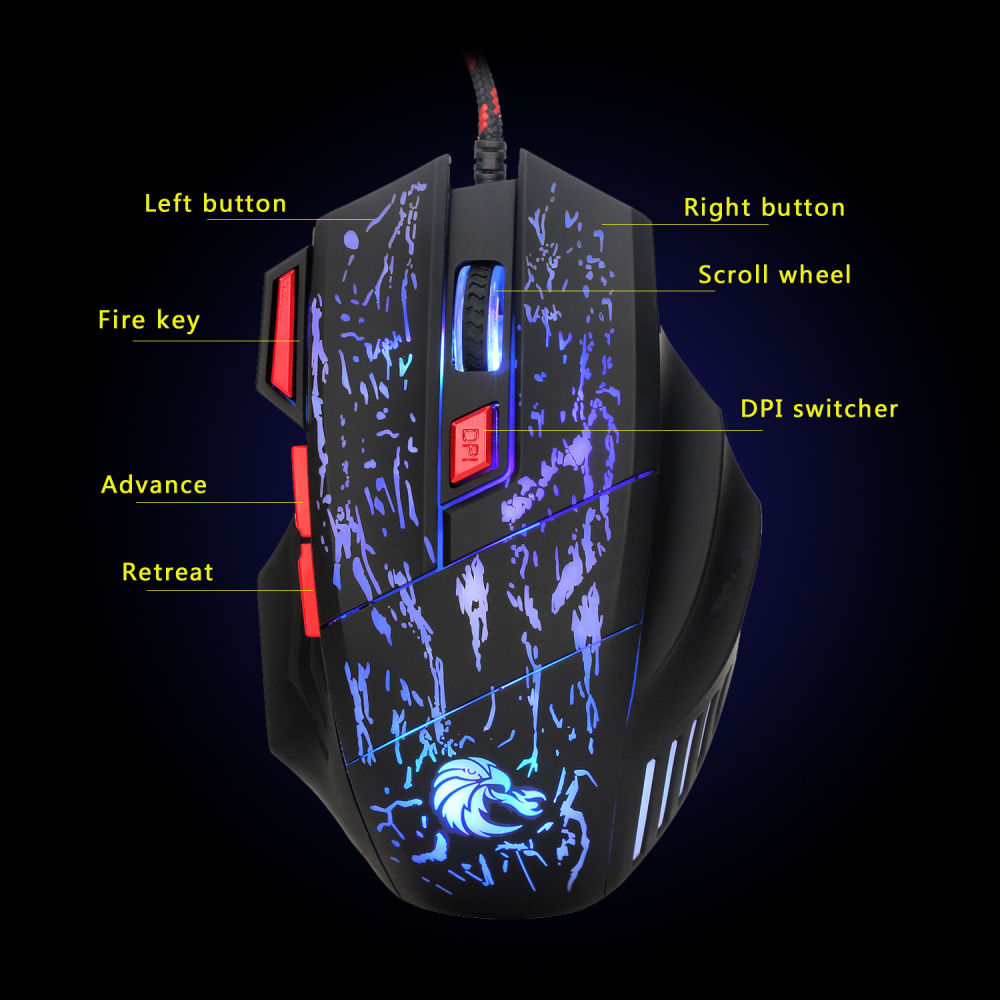 Image 4 - HXSJ Newest H300 5500DPI Professional USB Wired Optical 7 Buttons Gaming Mouse for Laptops Desktop Mouse Gamer Peripherals-in Mice from Computer & Office
