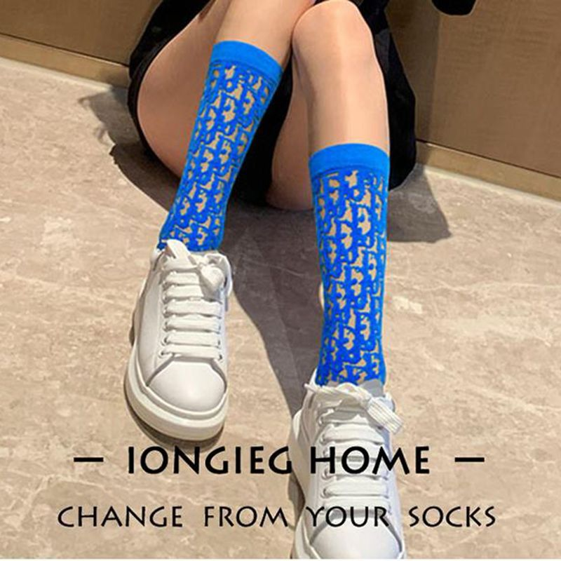 Socks   Transparent Sand Semi-permeable Ice Silk D Letters European And American Street Popular Logo Female Tube Pile Boots   Socks