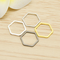 50pcs/lot Gold silver Closed hexagon hollow Charms Connector Simple handmade craft tag pendants jewelry DIY material