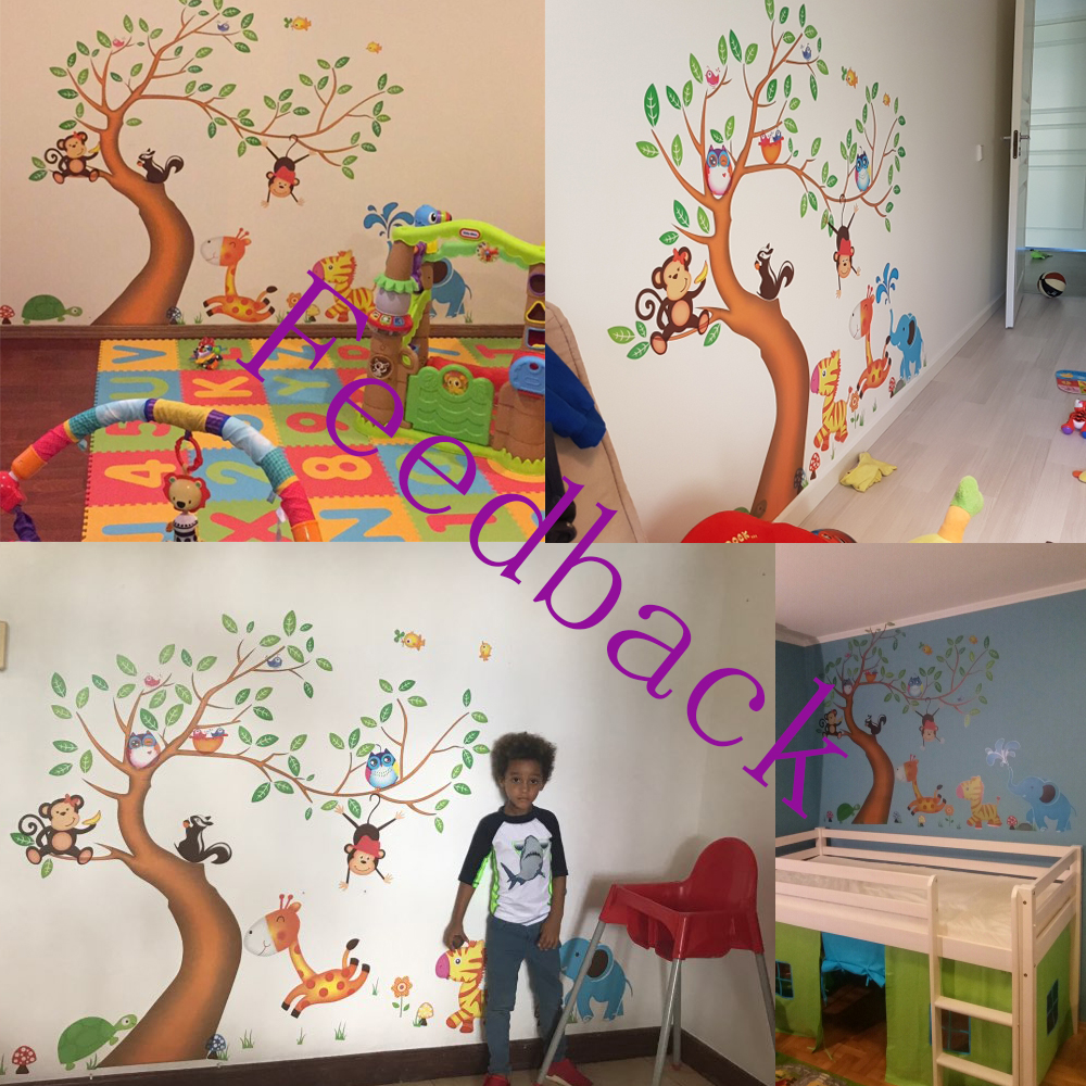 Nursery Room Decor Wall Stickers For Kids Rooms Oversize Jungle Animals  Tree Monkey Owl Removable Cartoon Wall Decal Art Sticker In Wall Stickers  From Home ... Part 81