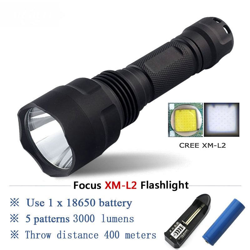 Portable Lighting Tactical Flashlight 1 mode self defense Torch xm l2 t6 Flash light search Lanterna hunting Lamp 18650 Zaklamp