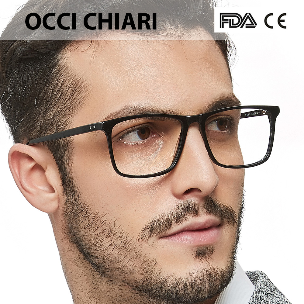 OCCI CHIARI Men Glasses Frame Optical 2019  Men Clear Lens Prescription Anti Blue Light Acetate Eyewear Eyeglasses W-COLOPI