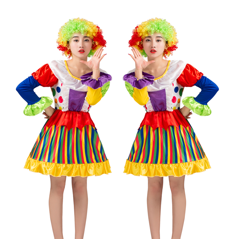 Free shipping Clown Clothes Suit Holiday Variety Funny Clown Costumes Christmas Adult Women Joker Costume Cosplay Party Dress Up