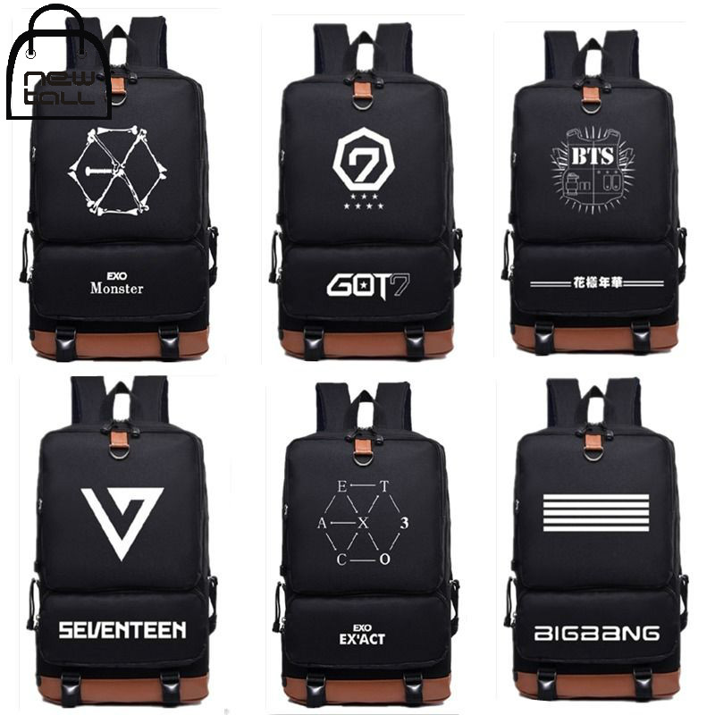 [NEWTALL] Korea KPOP Style BTS GOT7 Seventeen Bigbang EXO Bangtan Boys 17 inches School Bag Travel Shoulder Backpack 16102910 41010093 vintage rose pattern zinc alloy chain analog quartz pocket watch antique brass