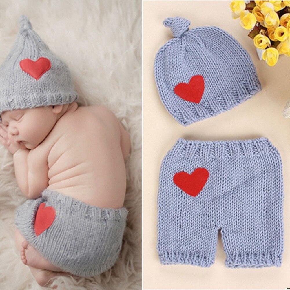 Bebê recém-nascido bonito crochê tricô traje prop