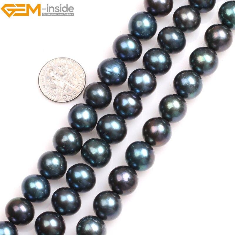 Gem-à l'intérieur Naturel Noir avec Paon Vert lustre Ronde de Culture Perles D'eau Douce Perles pour La Fabrication de Bijoux 15''DIY Bijoux