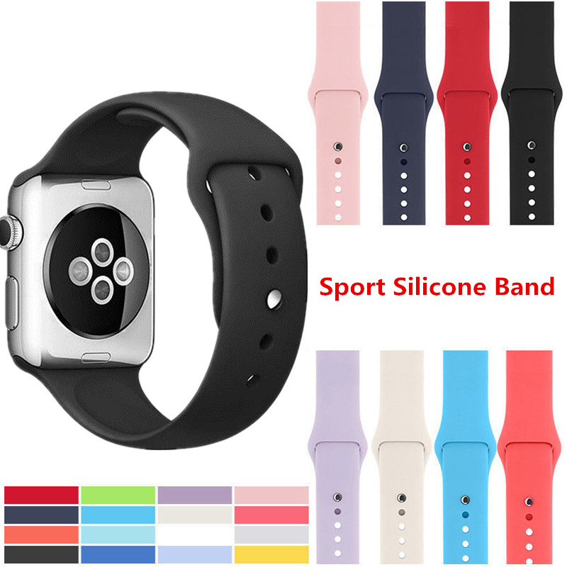 ASHEI Silicone Wrist Bracelet Strap for Apple Watch Series 3 Band 42mm 38mm Sport Colorful Silicone Watchband for iWatch 3 2 1