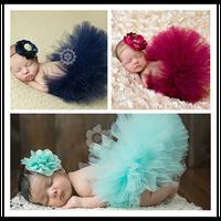 9色新生児女の子手作りソフトチュールチュチュスカート頭花衣装の写真撮影の小道具誕生日フォト撮影ギフトt1
