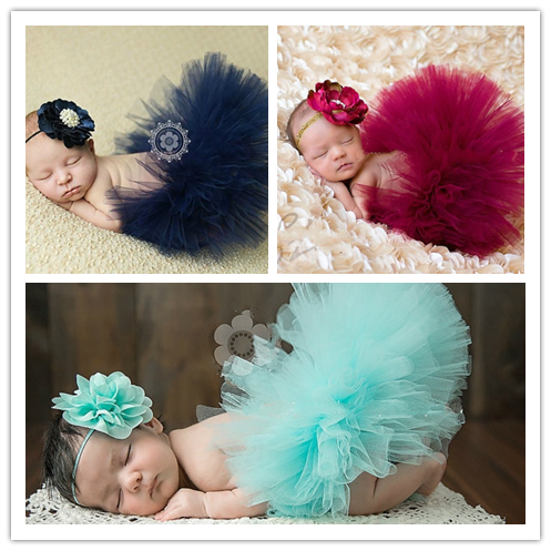 9 Colors Newborn Baby Girls Handmade Soft Tulle TUTU Skirt Head Flower Outfits Photography Props Birthday Photo Shoot Gift T1