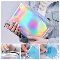 NICOLE DIARY 1 Pc 72 Slots Holographic Stamp Template Case Holder Laser Silver Pink Round Rectangle Nail Art Plate Organizer