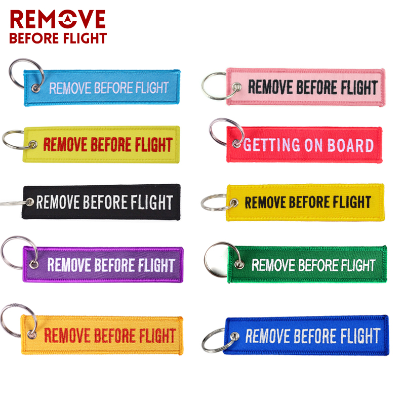 5 PCS/LOT Remove Before Flight Key Ring Chaveiro Embroidery Keychain for Aviation Gifts Red Fob Motorcycle Car