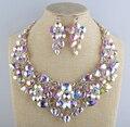 Collar nupcial de la boda de cristal AB colores aurora sistemas de la joyería declaración flor De Cristal Para las mujeres del partido accesorios de La Joyería
