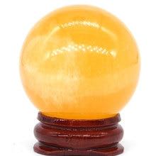 Natural Orange Gypsum Selenite Satin Spar Ball Quartz Sphere Hand Massage Crystal Healing Feng Shui Decor Accessory 40mm