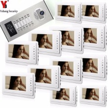 YobangSecurity 12 Units Apartment Intercom System Video Intercom Video Door Phone Kit HD Camera 7 Inch Monitor with RFID keyfobs