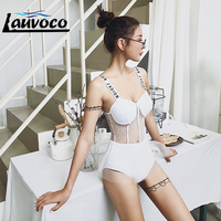 2019 New Sexy Lace Transparent Letter Print Swimsuits Women Solid Black One Piece Swimwear Mesh Bathing Suit Ruffle Monokini