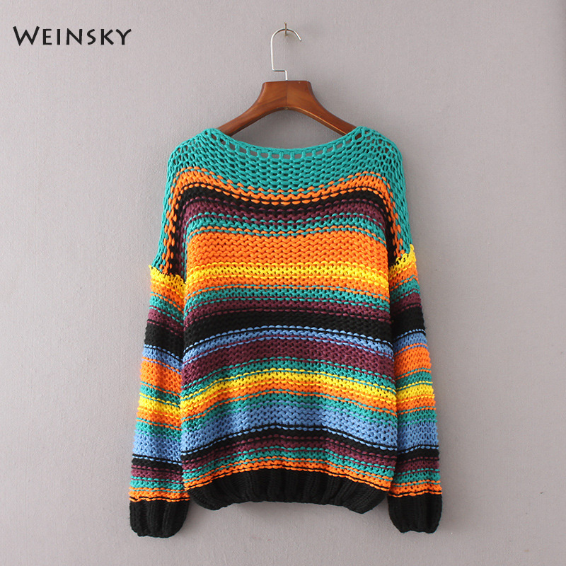 Weinsky Casual Women Knitted Rainbow Striped Sweaters And Pullovers Full Sleeve Ladies Autumn And Winter 2018 Sweater Fashion