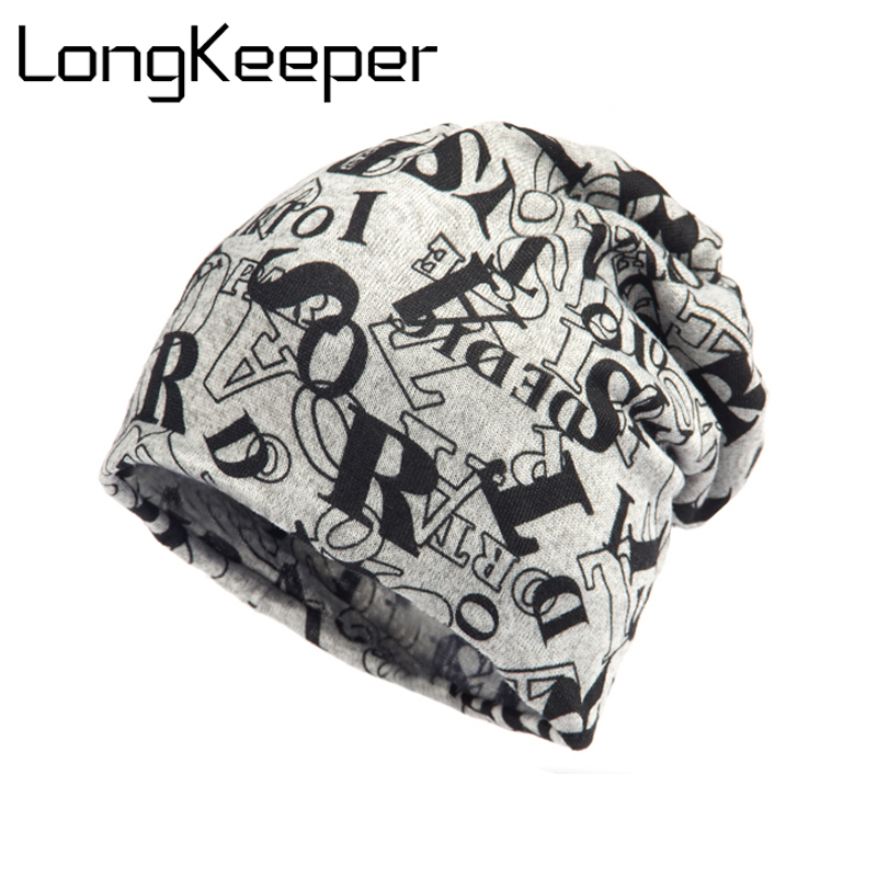 LongKeeper Women Warm Autumn Knitting Cotton Letter Style Autumn Hat Ladies Beanie Scarf 2 Use Cap Girls Gorros Women Skullies the new 2016 han edition affixed cloth wave cap hat hat tip to keep warm letter knitting hat qiu dong men and women