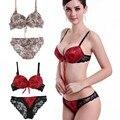 Mulheres Sexy Empurrar Para Cima Do Laço Conjunto de Sutiã Cuecas Bowknot Floral Bra + Ver Através Briefs Underwear Sexy Lingerie W09
