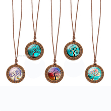 Retro Wooden Necklace Glass Cabochon Tree of Life Wood Pendant Art Jewelry Wax Rope Chain Necklaces Family Women Gift