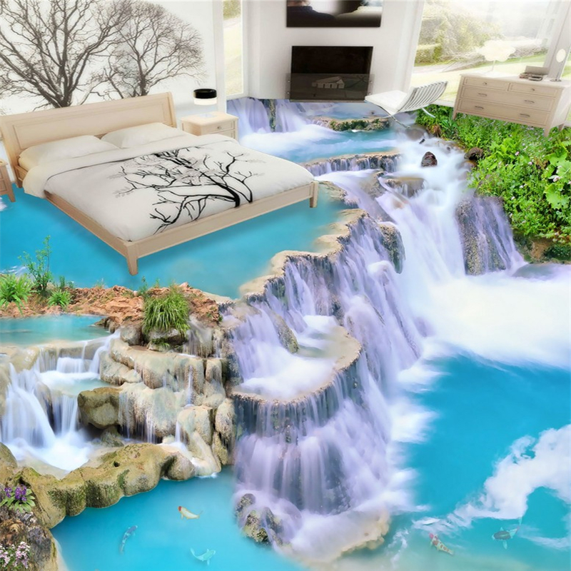 beibehang Water Modern bathroom Custom 3D floor mural non-slip waterproof thickened self-adhesive PVC wallpaper papel contact beibehang 3d mural flooring pvc adhesive paper fish non slip waterproof thickening self adhesive fresco floor fototapete 3d