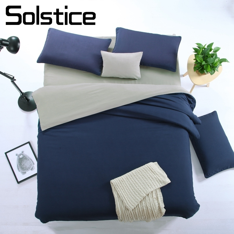 Solstice Bedding-Set Pillowcase Girl Bed Navy-Blue Duvet-Cover Linen Flat-Sheet Home-Textile
