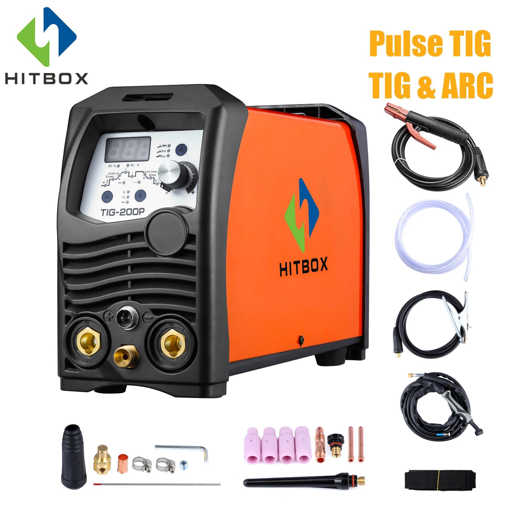 HITBOX Tig Welder 110V 220V Pulse Tig Arc Stainless Steel Carbon Steel Tig Welder 2T 4T
