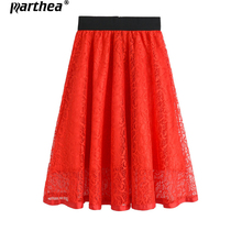 Parthea Autumn Winter New Zip Back High waist hollow lace Gril skirt eyelash Chiffon Women Slim Thin Waist Solid Color Skirts
