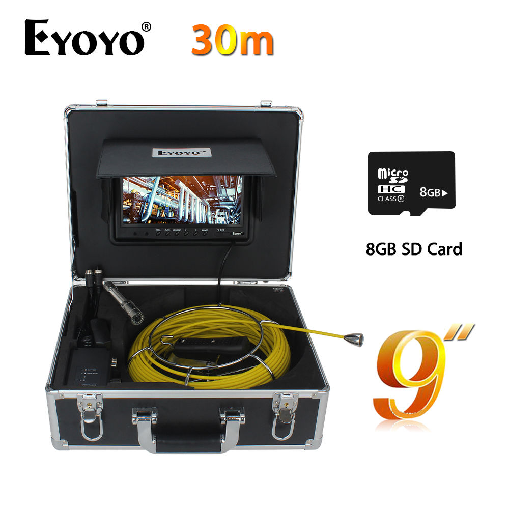 Eyoyo WP90A9 30M 23mm 9 LCD CMOS Sewer Camera Pipe Drain Inspection Snake Industrial Endoscope 1000TVL DVR With 8GB Card eyoyo 7 lcd screen 20m 800 480 1000tvl 4500mah sewer drain camera pipe wall inspection endoscope w keyboard dvr recording 8gb