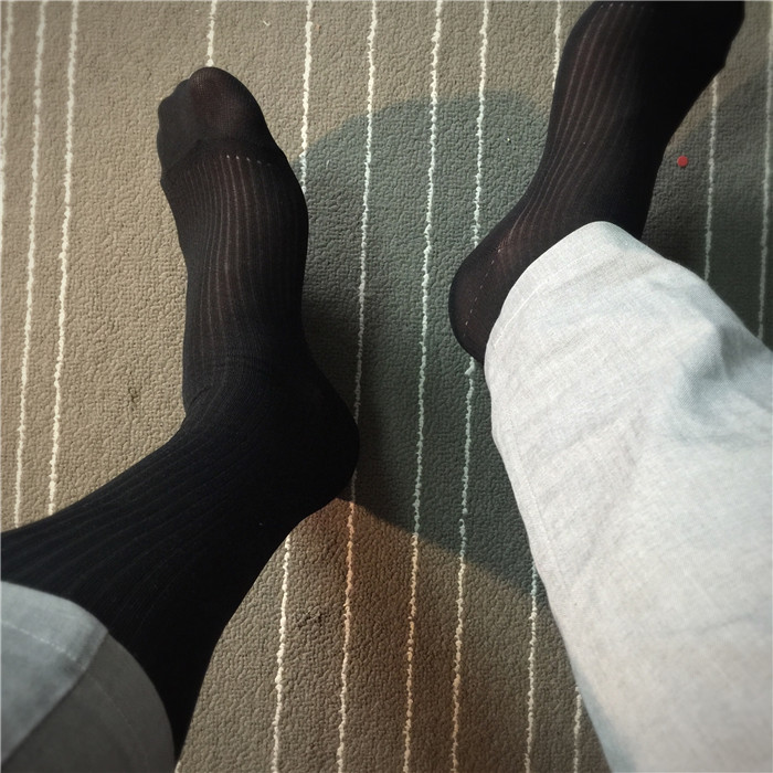 SORRYNAM Men Sheer Classic Socks Solid Color Male Sexy Style Transparent Stockings Man